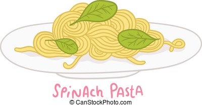 cartoon hand drawn spinach pasta - vector cartoon hand drawn...