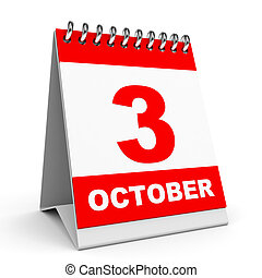 Calendar 3 October - Calendar on white background 3 October...