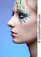 girl with bodyart - portrait of beautiful girl with bodyart...
