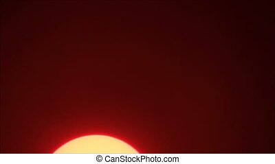 Yellow sun on red sky
