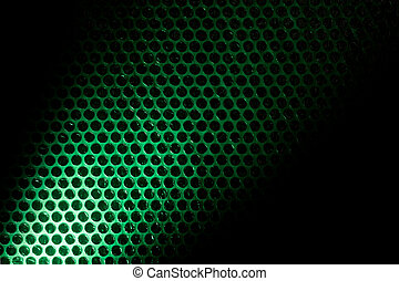 Bubble wrap lit by green light
