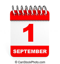 Calendar on white background 1 September 3D illustration