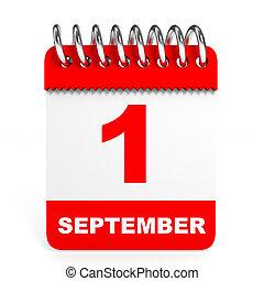Calendar on white background. 1 September. 3D illustration.