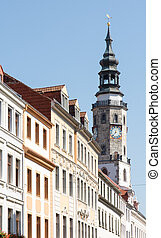 Historic Goerlitz - The tower of the old town hall in...