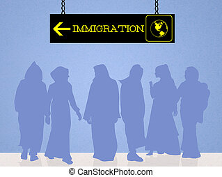 illegal immigration - illustration of illegal immigration
