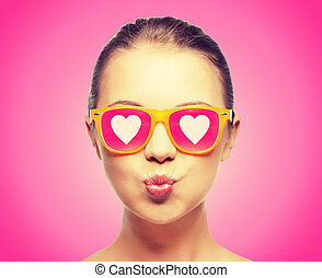 girl in pink sunglasses blowing kiss - love, happiness,...