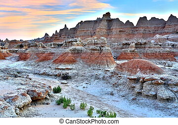 badland national park - sunset in the badlands