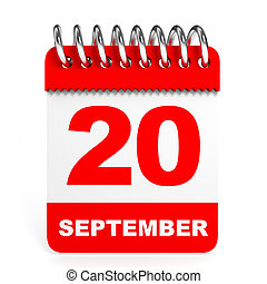 Calendar on white background. 20 September. 3D illustration.