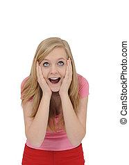 surprised teenage girl