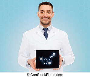 smiling male doctor showing tablet pc screen - medicine,...
