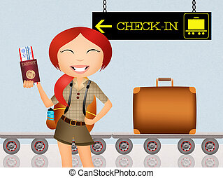 check-in in airport - illustration of check-in in airport