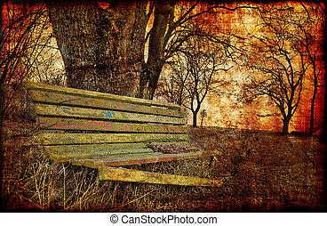 Depressive fall contrasts - Fall is a sad season - old...