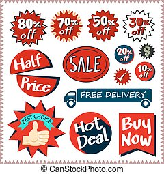Sale tags banners vector set design concept - Sale tags...