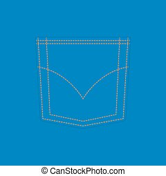 Pocket of blue jeans Vector background