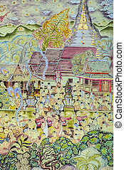 Thai mural painting art of Lanna Buddhist festival - Thai...