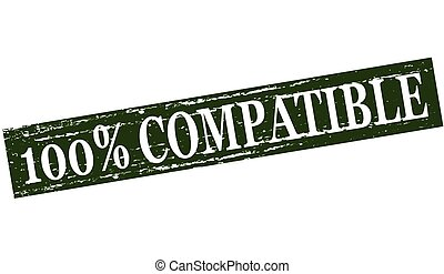 One hundred percent compatible - Rubber stamp with text one...