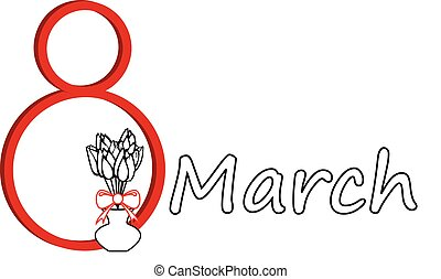 March 8 - illustration on March 8 in the form of...