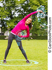 smiling woman stretching back outdoors - fitness, sport,...