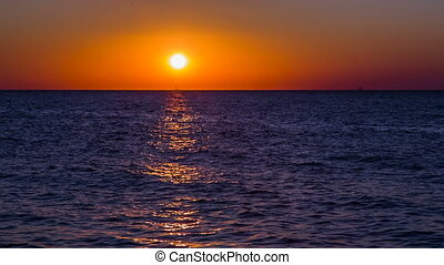 Sunset Over Sea - Nature background - beautiful sunset over...