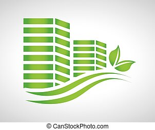 eco house design - Real estate design, vector illustration
