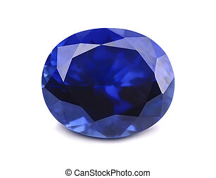 Sapphire - Natural sapphire gemstone isolated on white