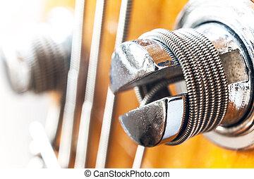 Bass Guitar Bolt  - Macro view of bass guitar bolt.