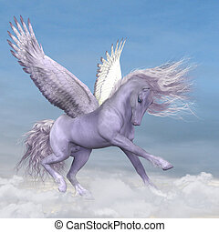 Pegasus among the Clouds - Silver white Pegasus plays and...
