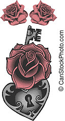 rose with locked heat-shape key