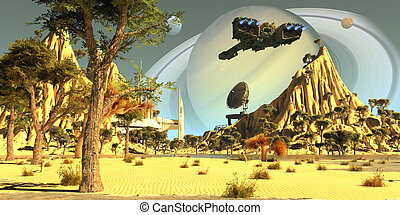 Titan Spaceport - After terraforming Saturn's moon Titan,...