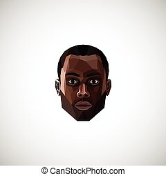 illustration with a black male face in in polygonal style
