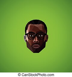 illustration with an african male face in polygonal style