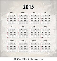 2015 calendar on textured background, which is made from...