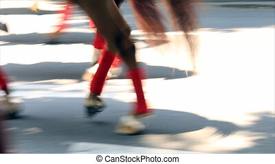 Horses legs on sunlit street - Warrior horses legs on sunlit...
