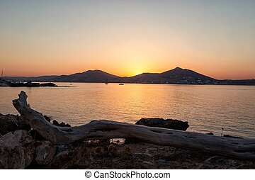 Sunset in Naussa, Paros, Greece
