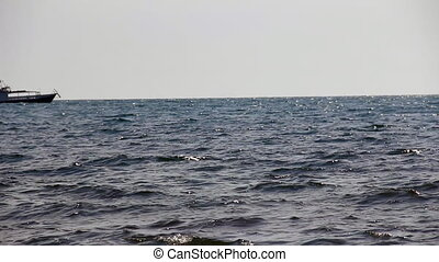 Boat drift on the sea surface - Boat drift on sea horizon
