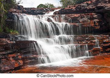 Jasper waterfall in Venezuela - Waterfall in Jasper Canyon,...