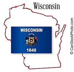 Wisconsin - Outline map of the American state of Wisconsin...