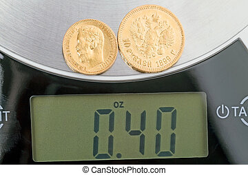 0.4 ounces of pure gold - Russian old gold coins 5 and 10...