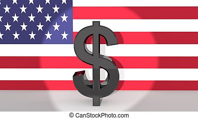 US Dollar in Spotlight - Currency symbol US Dollar made of...