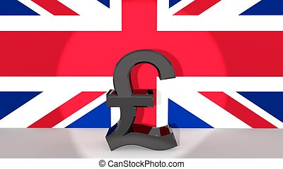 Pound in Spotlight - Currency symbol British Pound made of...