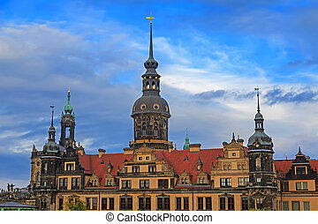 Residenzschloss (city palace) in Dresden with cloudy sky,...