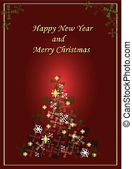 Shiny Christmas tree red postcard
