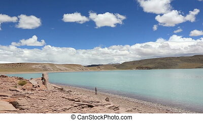 Laguna Celeste (Blue lagoon) - Panoramic view of lagoon...