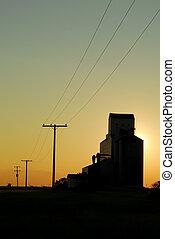 Prairie Grain Elevator Silhouette - A prairie elevator...
