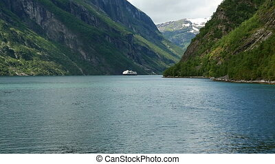 Geirangerfjord from the ferry - View of the Norwegian...