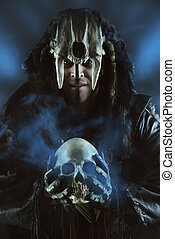warrior with skull - Ancient shaman warrior. Ethnic costume....