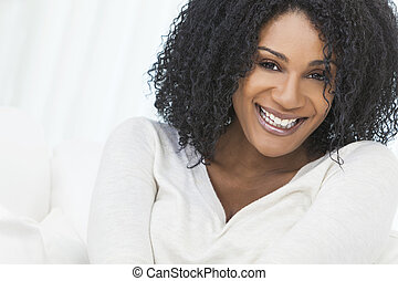 Beautiful Smiling Laughing African American Woman - Portrait...