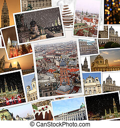 Fine winter photography collage Vienna Austria