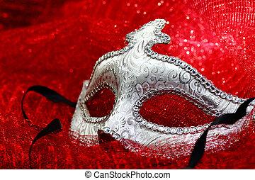 Vintage carnival mask in red background