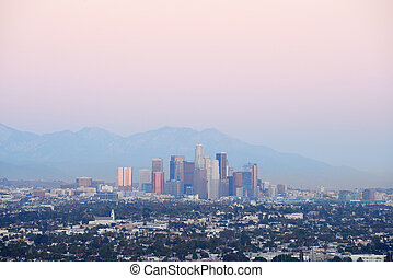 Los Angeles dusk - evening light with downtown Los Angeles,...